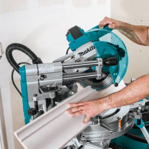 Makita LS1019L cutting large nested crown molding