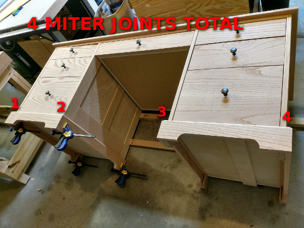 Illustrating the 4 miter joints required