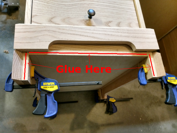 Areas to glue for the front baseboard piece
