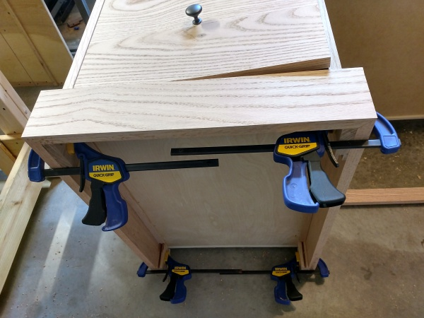 Base boards dry fit together at the bevels