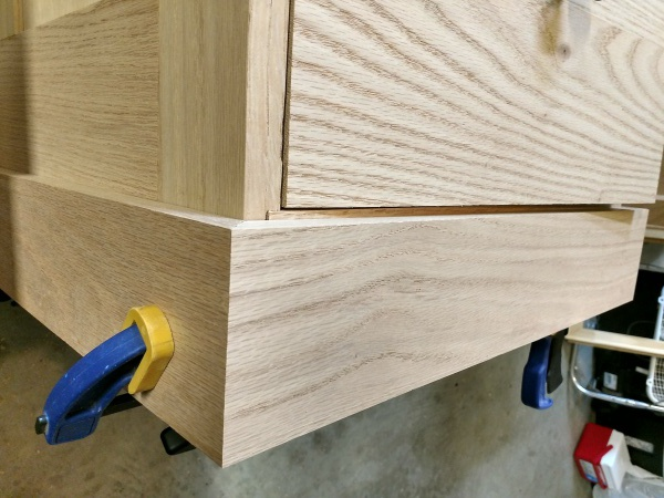 Closeup of the baseboard dry fit