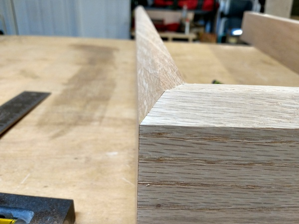 Closeup of a chamfered miter joint
