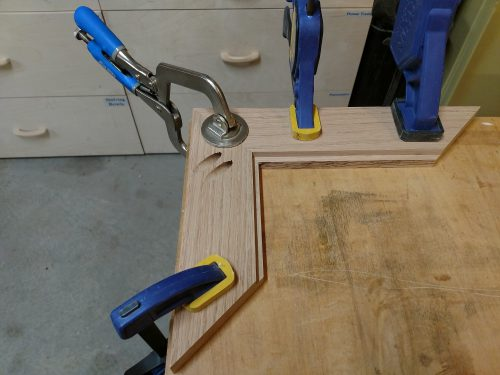 Miter jointed pieces clamped in place ready for pocket screws