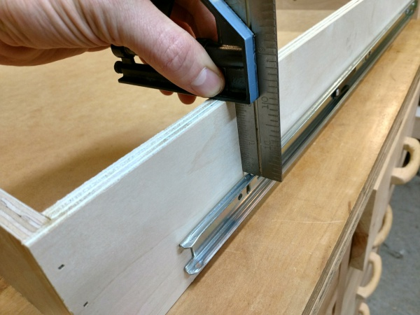 Lining up the back of the drawer slide