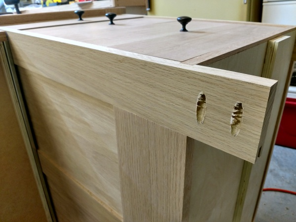 Furniture base with pocket holes made