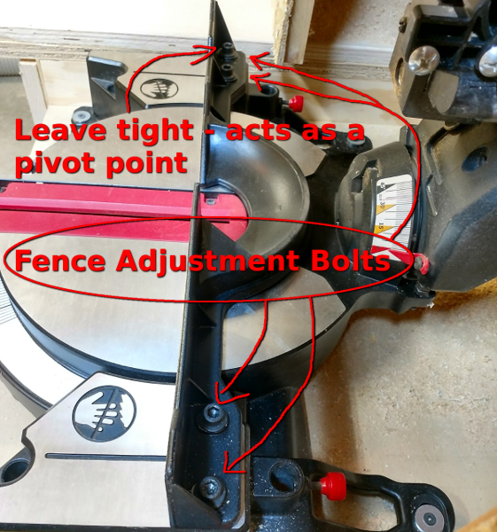 Illustration showing bolts to loosen for fence adjusting