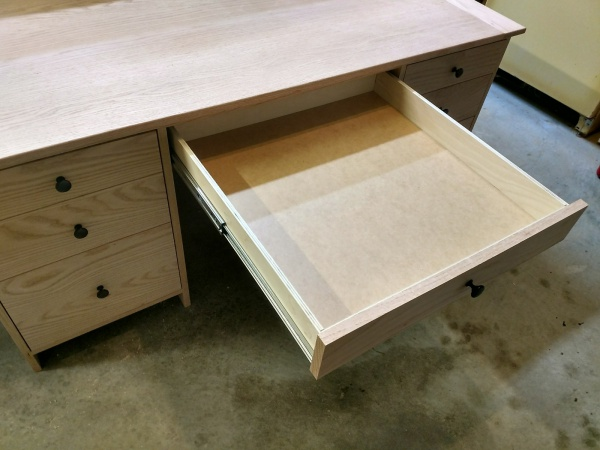 Top view of drawer fully extended