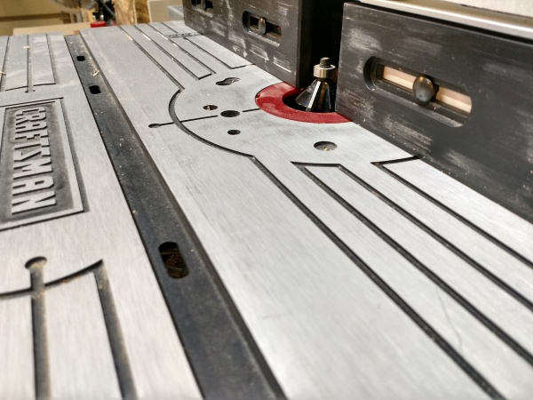 Router table set up with chamfer bit