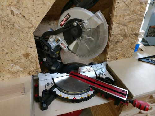 Craftsman miter saw set up for 45 degree cuts