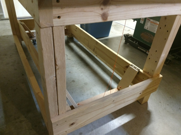 Closeup of the workbench legs and stretchers