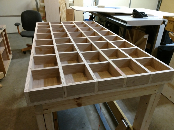 Closeup of completed torsion box grid structure
