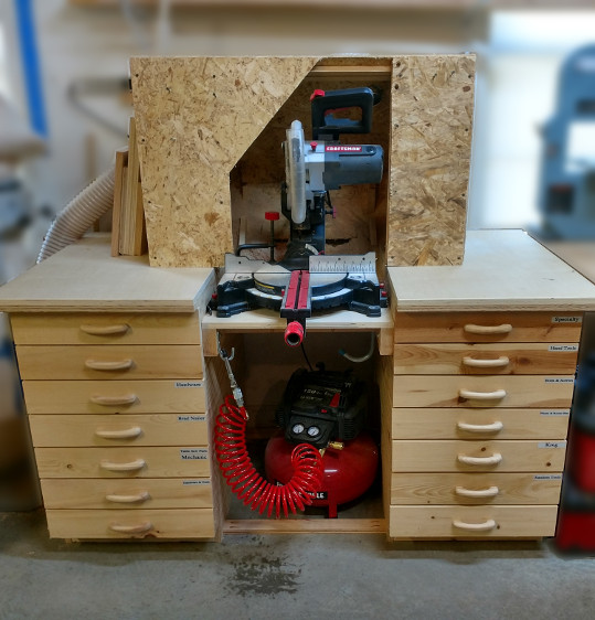 My miter saw workstation with integrated dust collection and stacked drawers