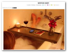 Custom wooden bathtub caddy