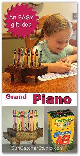 Wooden piano crayon holder