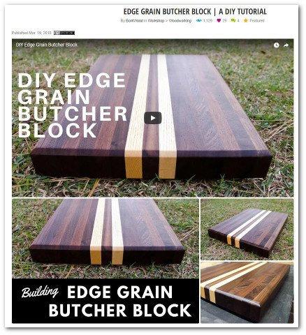 Butcher block edge grain cutting board