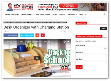 Custom wooden desk organizer