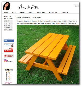 Wooden kids picnic table