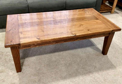 Beginner woodworking pine coffee table project