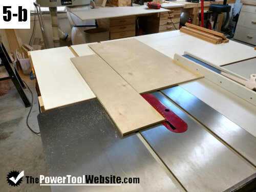Rip table saw sled to width