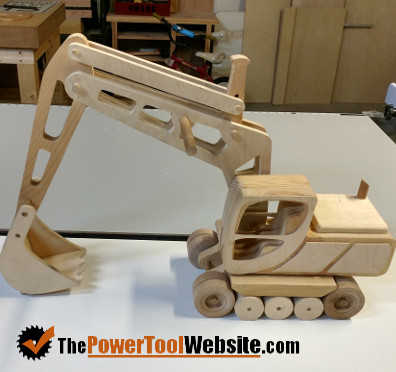 Toy excavator from scroll saw