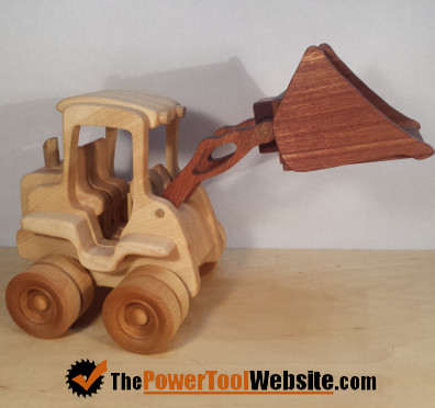 beginner woodworking Toy front end loader from scroll saw