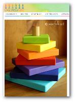 Custom built, painted wooden stacker blocks for kids