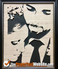 Wedding picture cut from wood with scroll saw