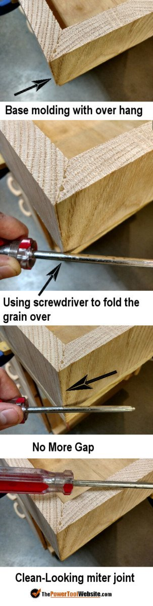 Cleaning miter joint up with a screwdriver