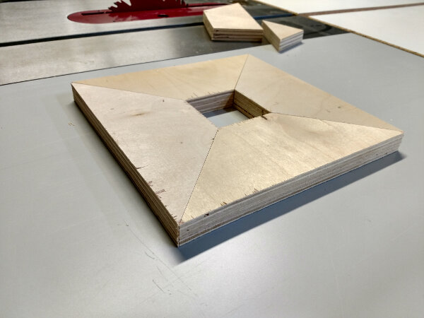 Test miter pieces laid out