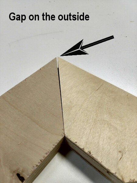 Miter joint with gap on the outside