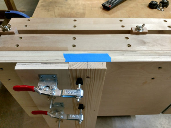 Apron clamped in place for end mortises