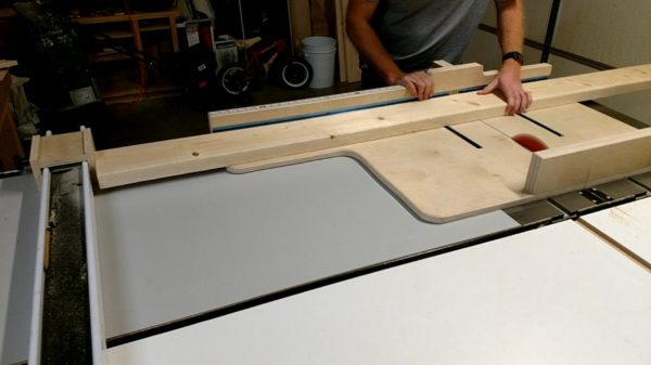 Crosscutting the top panel boards for the coffee table, on the table saw