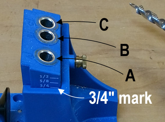 Pocket hole joinery jig diagram with holes and height guide