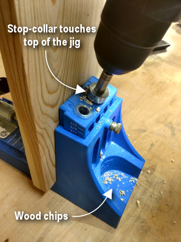 Diagram showing pocket hole jig in use when drilling