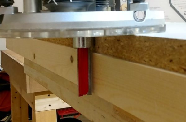 Edge jointing with a router and bushing