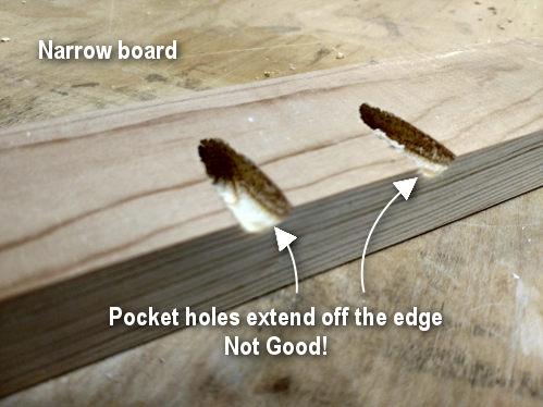Pocket holes extending off of a narrow board