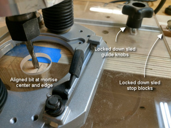 Lock down jig positioners for the sled