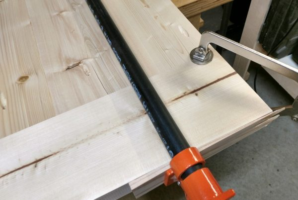Table top breadboard ends clamped in place ready for pocket screws.