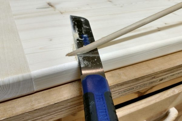 Plugging pocket holes with dowel stock, glue and a dovetail saw