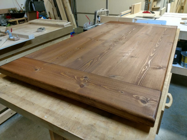 Pine table top after letting stain sit overnight