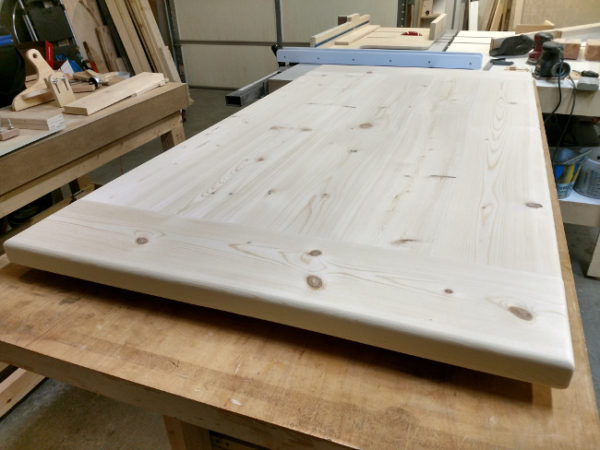 Pine table top sanded and ready for stain