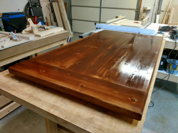 Just applied english chestnut stain to this pine table top using a brush