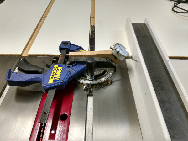 Using your dial indicator to tune your table saw fence, step 1