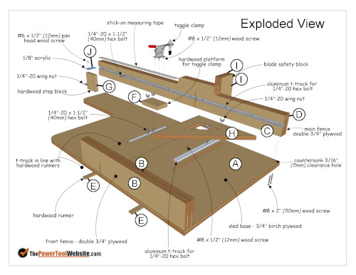 Table Saw Exploded View