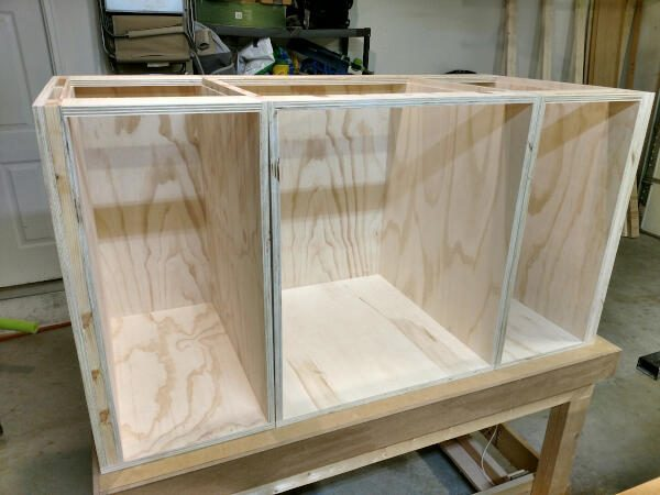 Three base cabinet carcasses complete