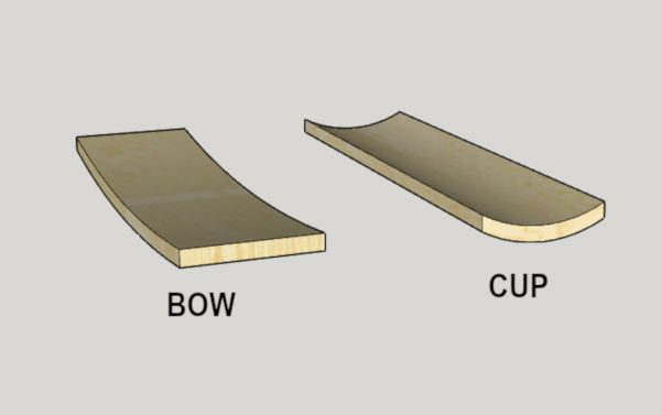 diagram showing difference between cupped and bowed boards