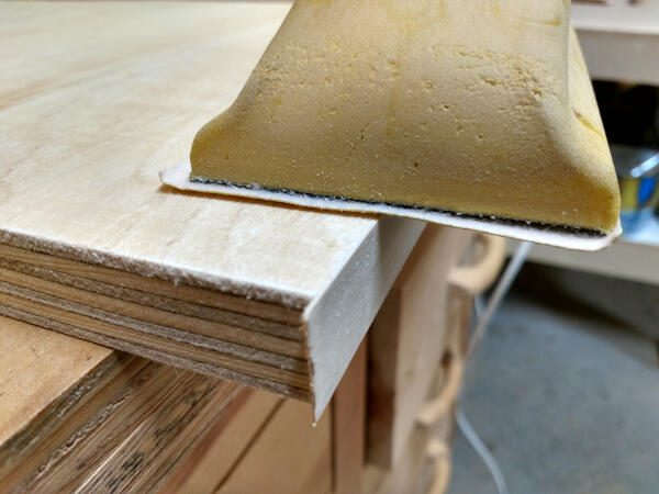 closeup of the veneer sanded flush