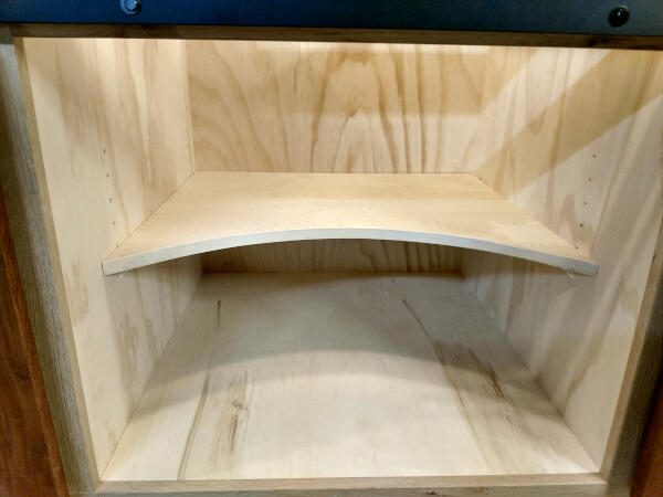 curved cabinet shelf