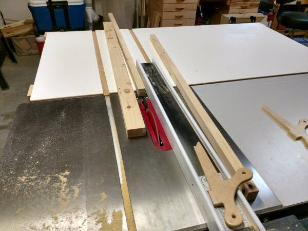 cutting support strips on table saw for lower trim molding