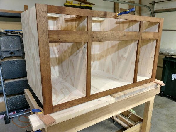 stained face frame dry fit to cabinet